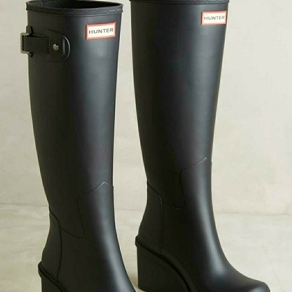 f843f5c8ae9ab Hunter Boots Shoes - Hunter Original Tall Refined Wedge Rainboots
